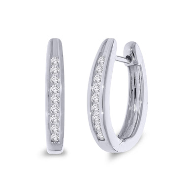 9ct White Gold Hoop Diamond Earrings