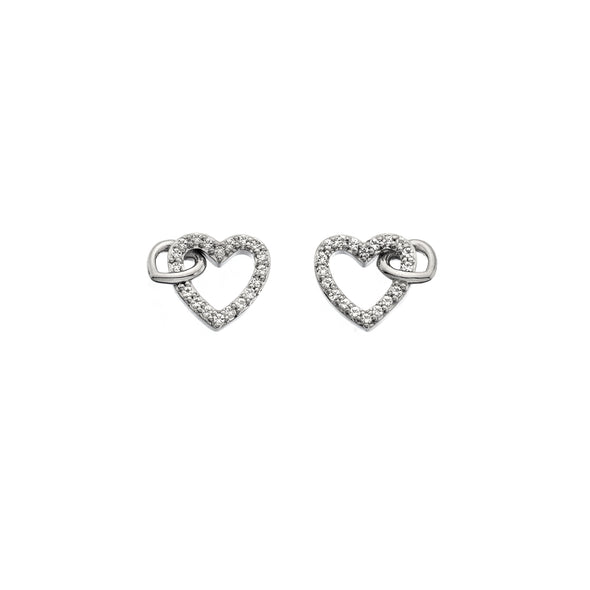 Hot Diamonds Togetherness White Topaz Heart Stud Earrings DE605