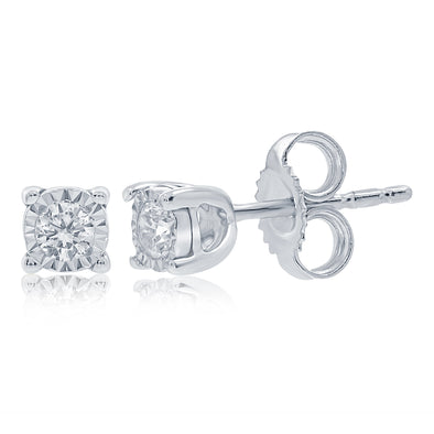 9ct White Gold Diamond Earrings