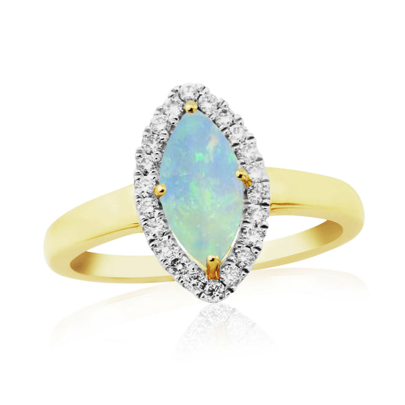 9ct Gold Opal & Diamond Ring