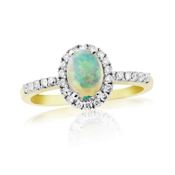 9ct Gold Opal & Diamond Cluster Ring