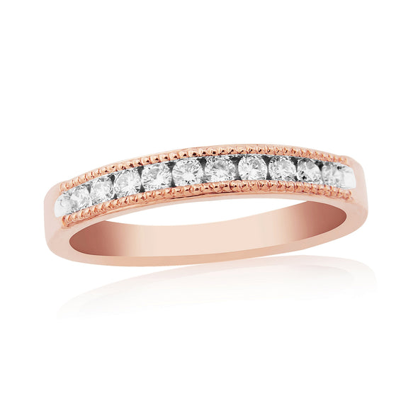 9ct Rose Gold Channel Set Diamond Ring