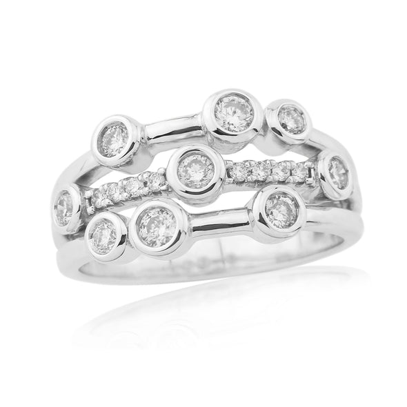 9ct White Gold Diamond Bubble Ring