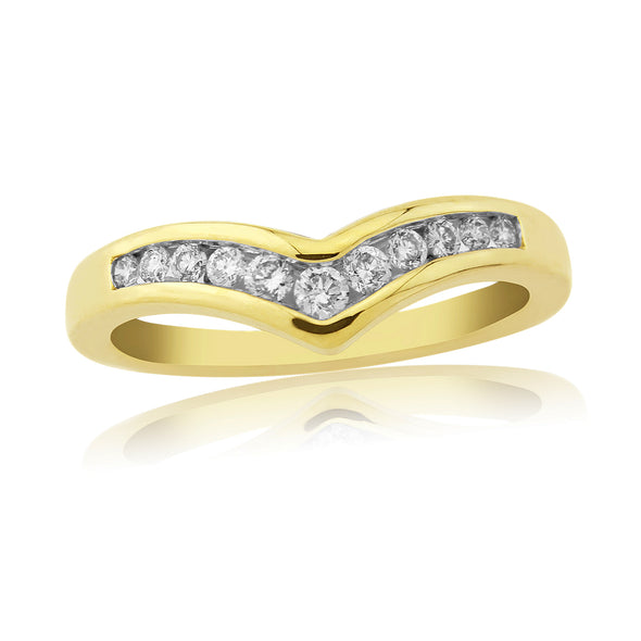 9ct Diamond Wishbone Ring