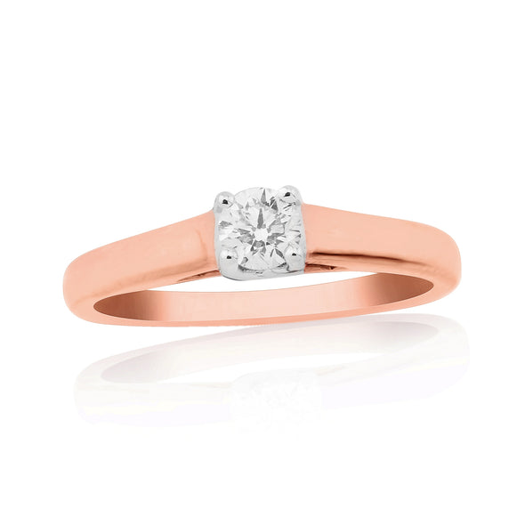 9ct Rose Gold Solitaire Diamond Ring