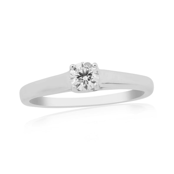 9ct White Gold Solitaire Diamond Ring