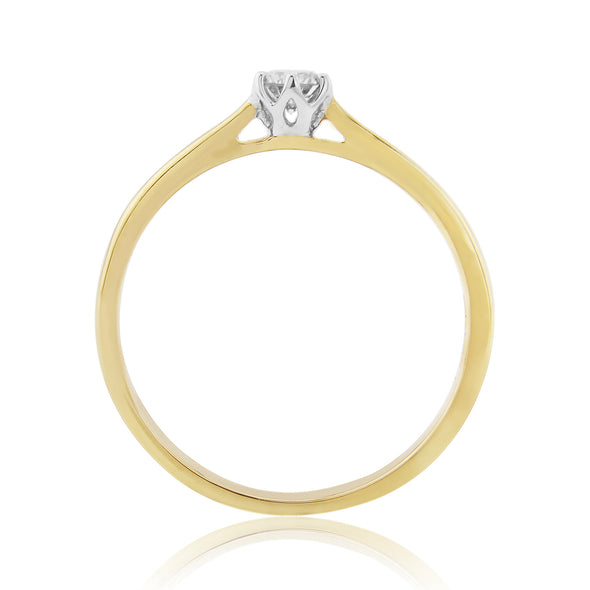 9ct Yellow Gold Solitaire Diamond Ring