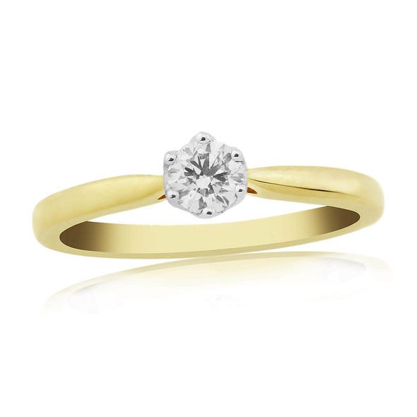 9ct Gold Solitaire Diamond Ring