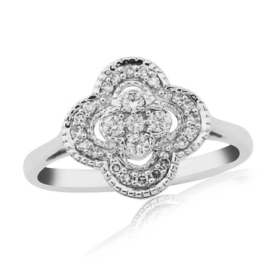 9ct White Gold Cluster Diamond Ring