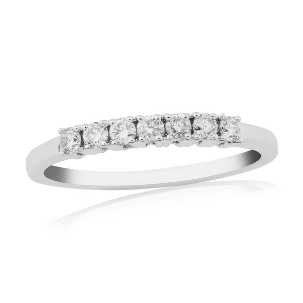 9CT White Gold 7 Stone Diamond Ring