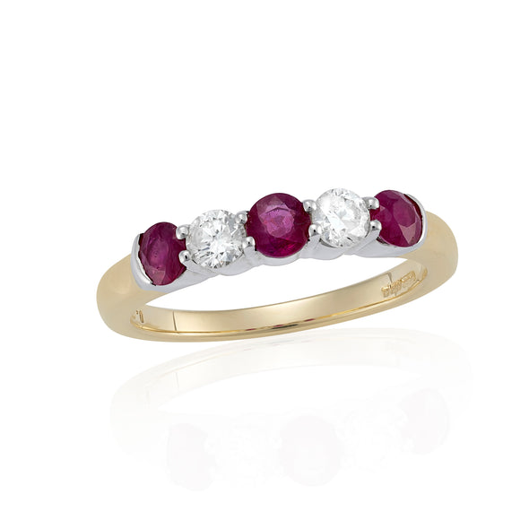 9ct Five Stone Ruby Diamond Half Eternity Ring