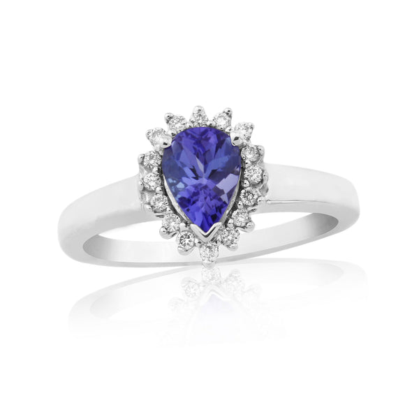 9ct White Gold Tanzanite & Diamond Ring