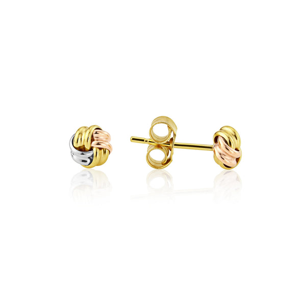 9ct Gold Three Tone Knot Earrings