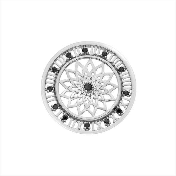 Hot Diamonds Emozioni Sterling Silver Time Travel Black Cubic Zirconia 33mm Coin EC157