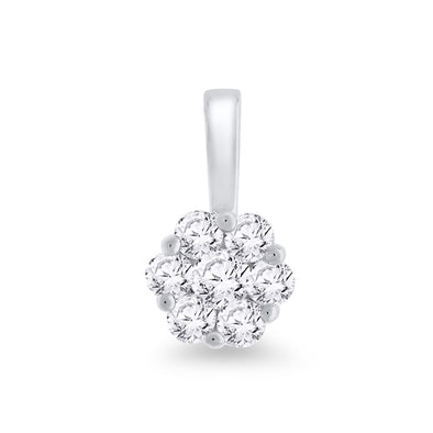 9ct White Gold Diamond Cluster Pendant