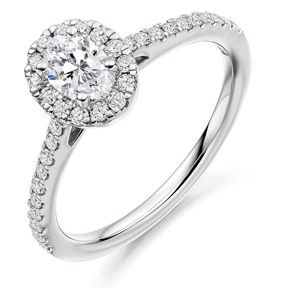 Platinum Oval Diamond Cluster Ring