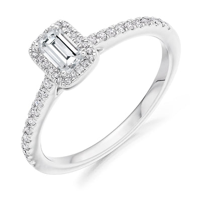 Platinum Emerald Cut Halo Ring