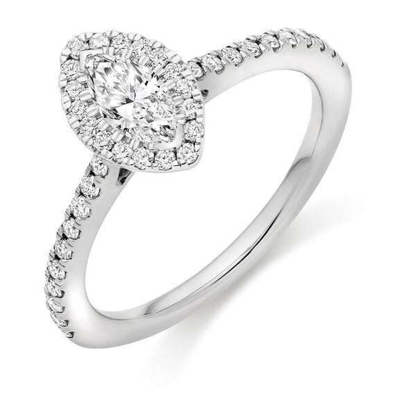 Platinum Marquise Cut Diamond Cluster Ring