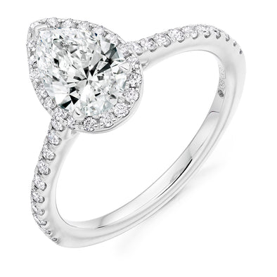 Platinum Diamond Pear Halo Ring