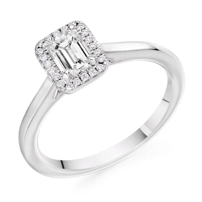 Platinum Emerald Cut Diamond Cluster Ring