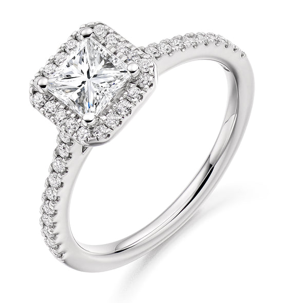 Platinum Square Diamond Cluster Ring