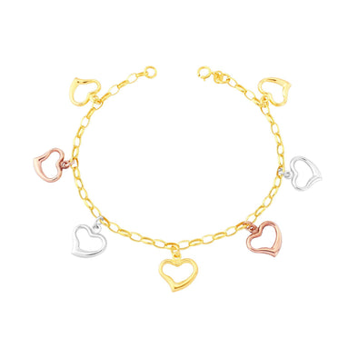 9ct Three Tone Gold Heart Bracelet