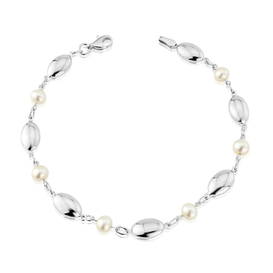 9ct White Gold & Pearl Bracelet