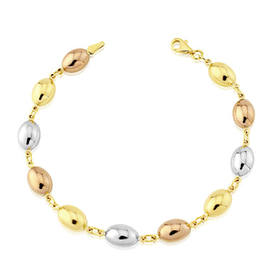 9ct Three Tone Gold Bracelet