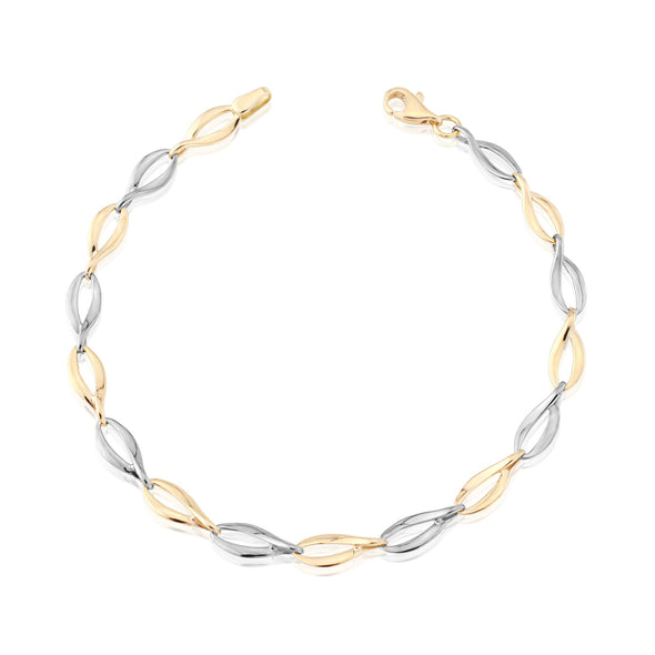 9ct Gold Rose & White Bracelet