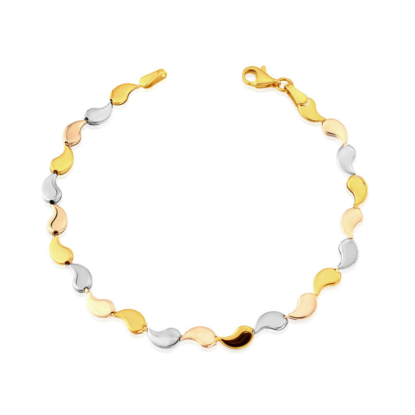 9ct Gold Three Tone Bracelet