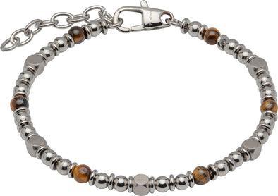 Unique & Co Stainless Steal Tigers Eye bracelet 21cm LAB-181/21cm