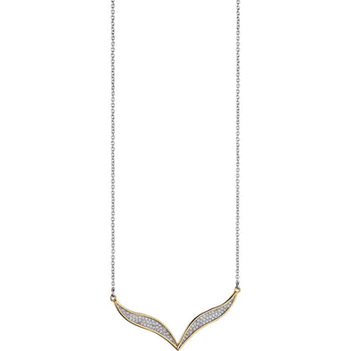 Fiorelli Silver And Gold Cubic Zirconia Necklace N3984C
