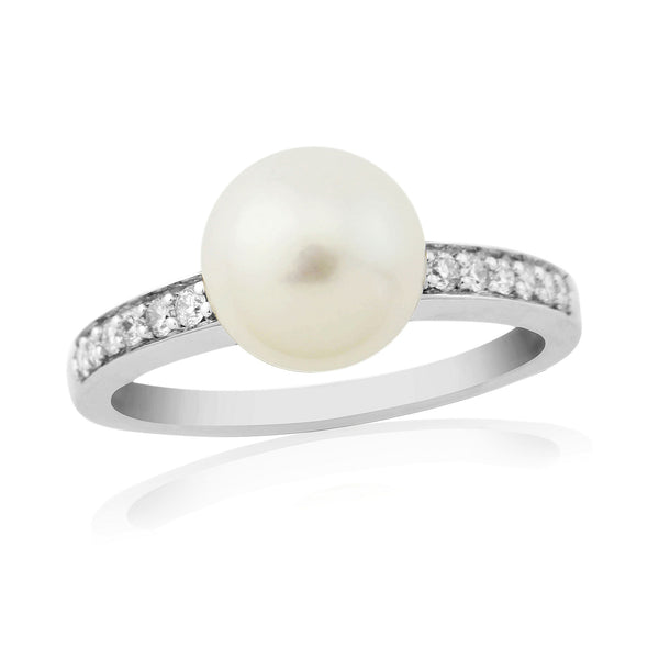 9ct White Gold Cultured Pearl & Diamond Ring
