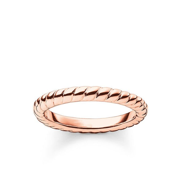 Thomas Sabo Size 50 Silver Rose Gold Twist Band Ring - TR1978-415-12-50