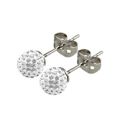 Tresor Paris Titanium 6mm White Crystal Studs 015997