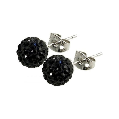 Tresor Paris 'Breel' Black Crystal Earrings, 8mm 016013