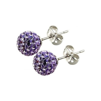 Tresor Paris 'Les Lilas' Lilac Crystal Earrings, 8mm 016011