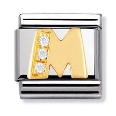 Nomination Gold CZ Letter M Charm 030301-13