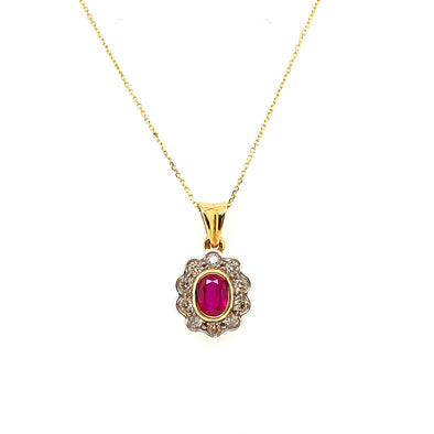 18ct Gold Ruby & Diamond Necklace