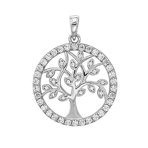 Silver CZ Tree Of Life Pendant