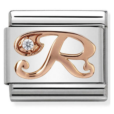 Nomination Gold CZ Letter R Charm 430310-18