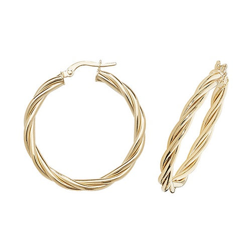 9ct Yellow Gold Twisted 25mm Hoop Earrings