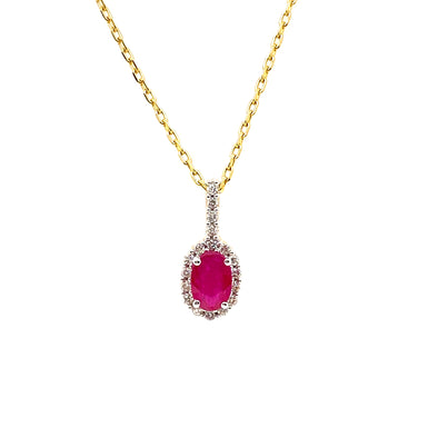 9ct Ruby & Diamond Pendant