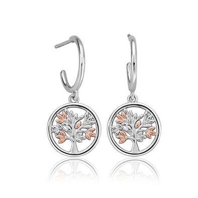 Clogau Silver & Rose Gold Tree Of Life Charm Hoop Earrings 3SNTLCDE