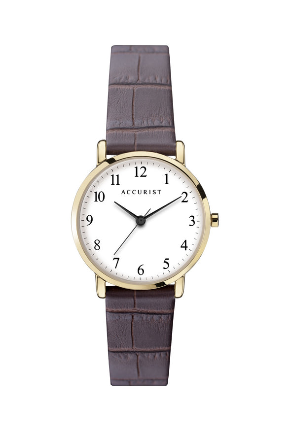 Accurist Brown Leather Strap White Dial Watch 8371