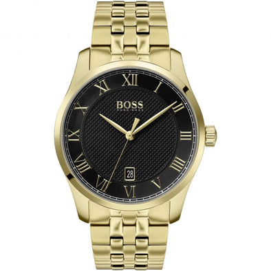 Hugo Boss Gents Black Dial Gold Watch 1513739