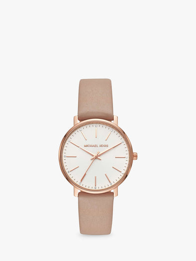 Michael Kors Women's Pyper Leather Strap Watch, Beige/White MK2748