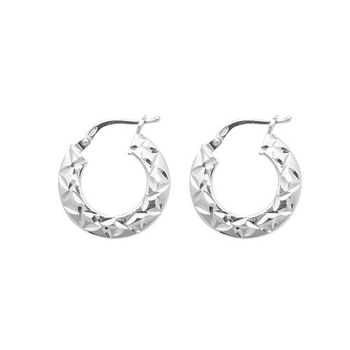 Silver 10mm Diamond cut Hoop Earrings