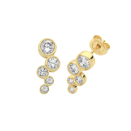 9ct Yellow Gold Bezel CZ Stud Earrings