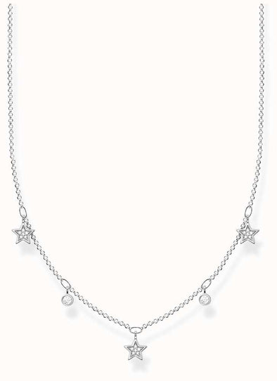 Thomas Sabo Sterling Silver White Stone Star Necklace KE2075-051-14-L45V